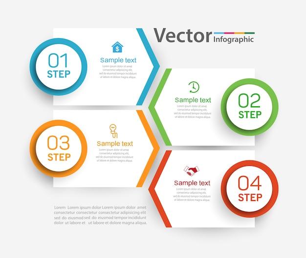 Шаблон дизайна инфографики с 4 шагами