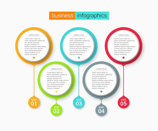 5 옵션 또는 단계가있는 infographic 디자인 템플릿