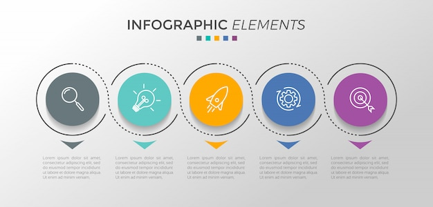 Infographic design template with 5 options or steps