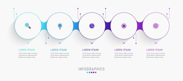 Infographic design template with 5 options or steps.