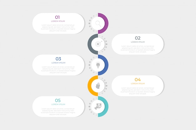 Infographic design template with 5 step or option.