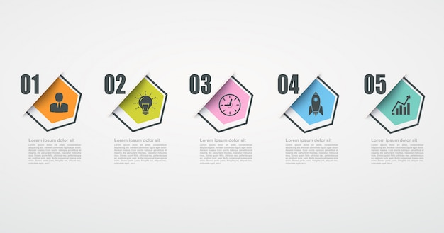 Infographic design template with 5 step structure. business success concept, hexagonal chart lines.