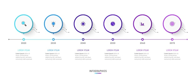 6つのオプションまたはステップを備えたインフォグラフィックデザインテンプレート。