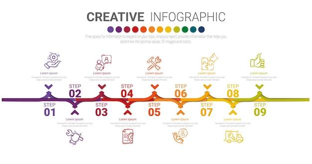 9つのオプションを備えたインフォグラフィックデザインテンプレート