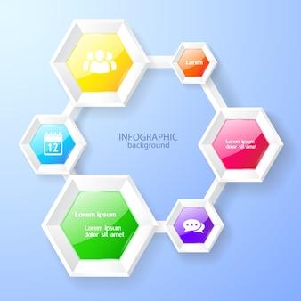 Modello di progettazione infografica con icone e grafico esagonale lucido colorato