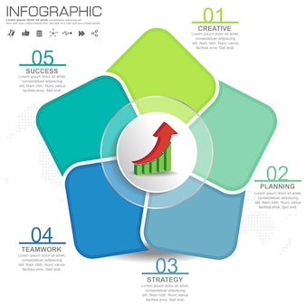Infographic design template with frame for your text and photo