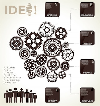 Infographic design template with gears