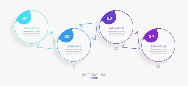 Infographic design template with icons and 4 options or steps.