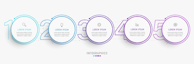 Infographic design template with icons and 5 options or steps.