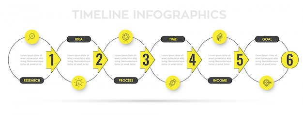 Infographic design template with icons and 6 options or steps.