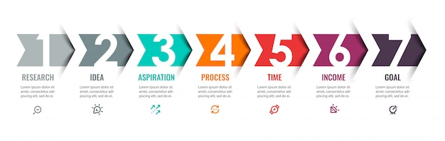 Infographic design template with icons and 7 options or steps.