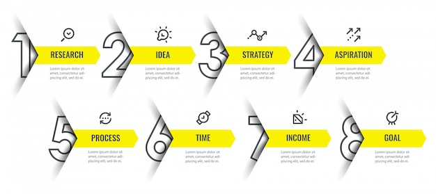 Infographic design template with icons and 8 options or steps.
