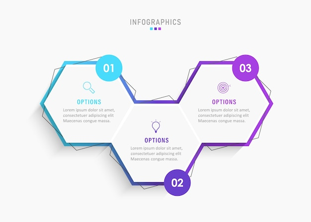 Шаблон оформления инфографики с значками и 3 вариантами или шагами.