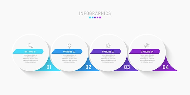 Шаблон оформления инфографики с иконками и 4 вариантами или шагами.