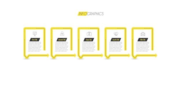 アイコンと5つのオプションまたはステップを含むインフォグラフィックデザインテンプレート。