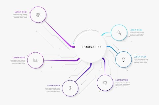 アイコンと6つのオプションまたは手順のインフォグラフィックデザインテンプレート。