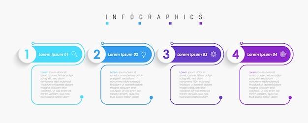 アイコンとオプションまたはステップを含むインフォグラフィックデザインテンプレート