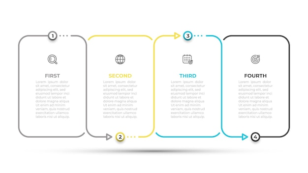 Infographic design template with icons and thin line template