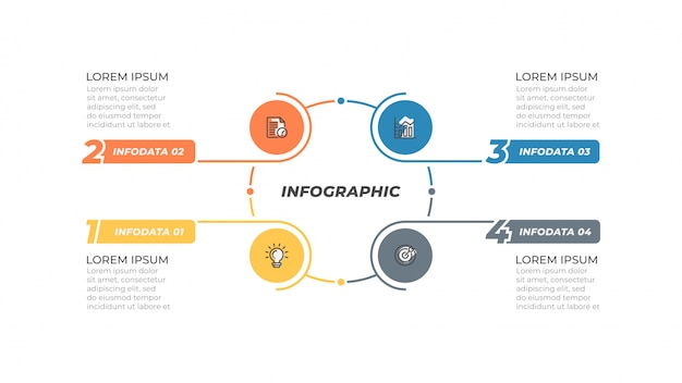 Infographic design template with marketing icons and thin line simple elements.