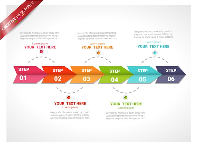 Infographic design template with numbers six option.