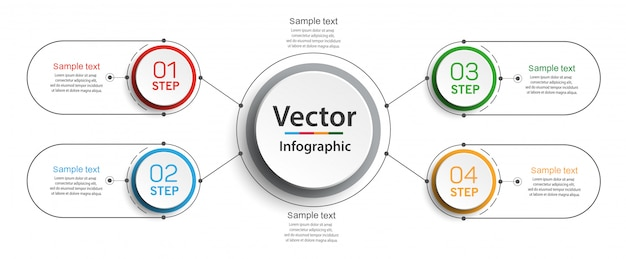 Шаблон оформления инфографики с вариантами и 4 шага