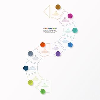 얇은 선 아이콘 및 10 가지 옵션이있는 infographic 디자인 서식 파일