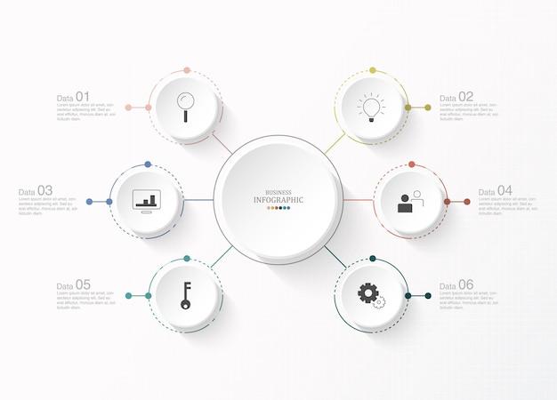 Шаблон оформления инфографики с тонкими линиями значков и 6 вариантов, процесса или шагов.