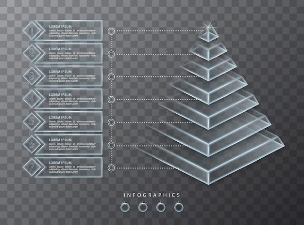 Инфографики дизайн прозрачное стекло 3d пирамида и значки