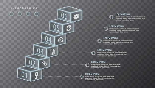 Инфографики дизайн прозрачное стекло кубическая коробка и значки