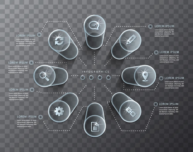Infographic 디자인 투명 유리 실린더 및 아이콘