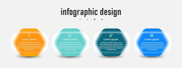 Инфографический дизайн прозрачного стеклянного эффекта шаблона с 4 вариантами