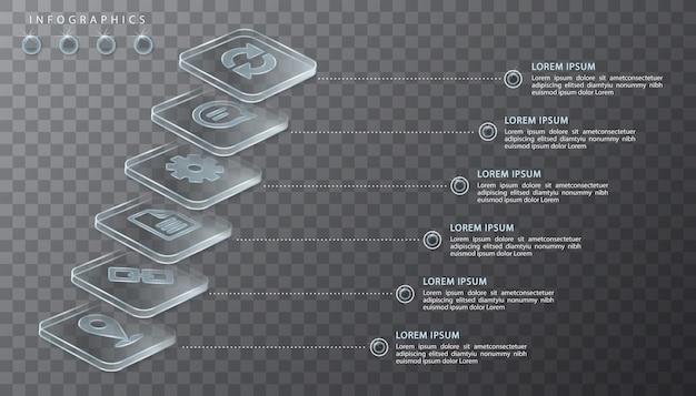 Инфографики дизайн прозрачные стеклянные этикетки и значки