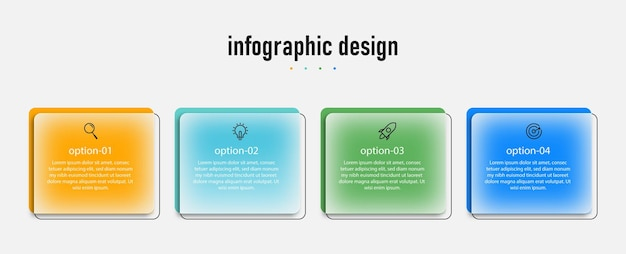 Infographic design transparent glass template with 4 options premium vector