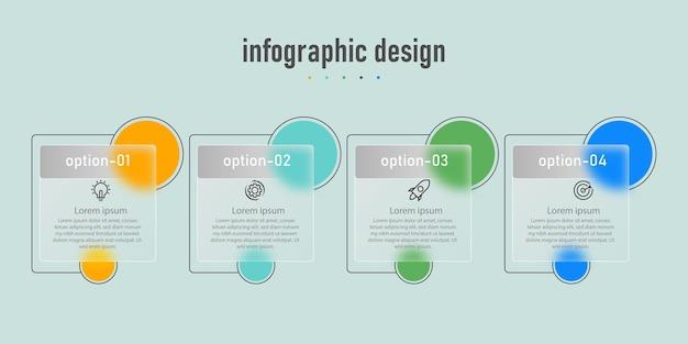 インフォグラフィックデザイン透明ガラステンプレート