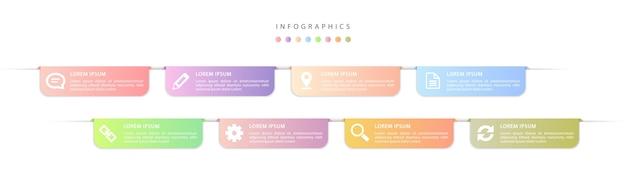 インフォグラフィックデザインuiテンプレートのカラフルなグラデーションラベルとアイコン。