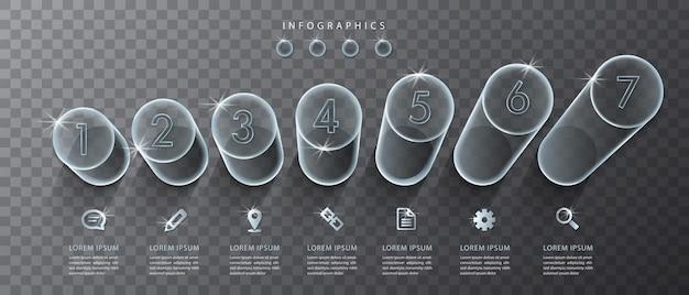 인포 그래픽 디자인 ui 템플릿 투명 유리 실린더 및 아이콘. 비즈니스 개념 프레젠테이션 배너 워크 플로 레이아웃 및 프로세스 다이어그램에 이상적입니다.