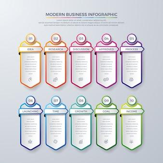 10 가지 공정 선택 또는 단계가 포함 된 infographic 디자인.
