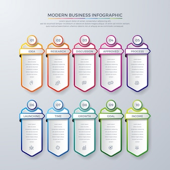 Infographic design with 10 process choices or steps.