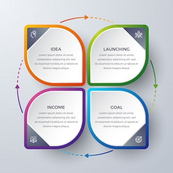 Infographic design with 4 process or steps.