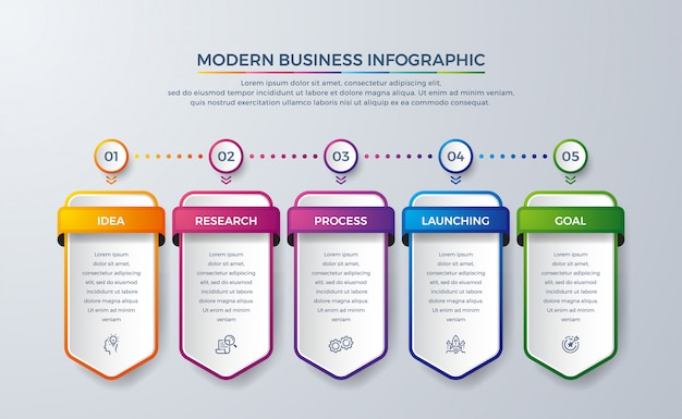 Infographic design with 5 process or steps.