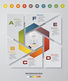 Infographic design with 6 steps and options.
