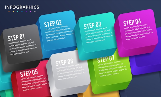 7 가지 옵션 또는 단계가있는 인포 그래픽 디자인