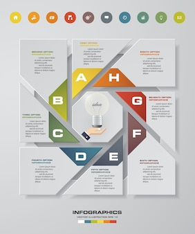 Infographic design with 8 steps and options.