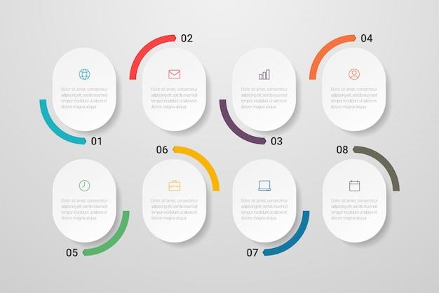 아이콘 및 8 가지 옵션 또는 단계가 포함 된 infographic 디자인. 프리젠 테이션, 플로 차트, 웹 사이트, 배너, 인쇄물에 사용할 수 있습니다. .