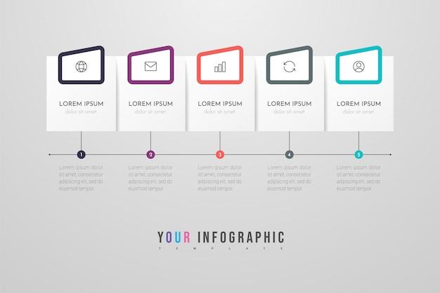 아이콘과 5 가지 옵션 또는 단계가 포함 된 infographic 디자인. 인포 그래픽 비즈니스 개념입니다. 정보 그래픽, 플로 차트, 프리젠 테이션, 웹 사이트, 배너, 인쇄물에 사용할 수 있습니다.