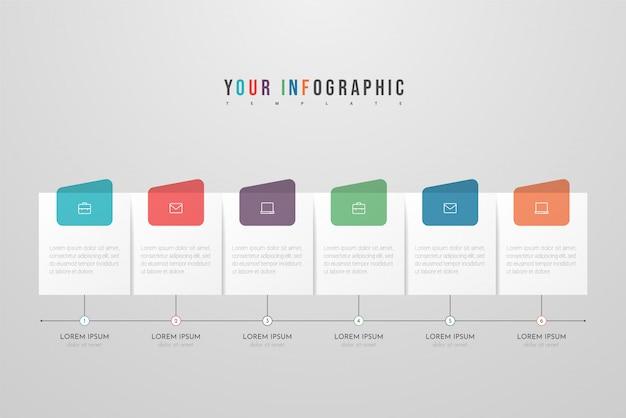아이콘과 6 가지 옵션 또는 단계가 포함 된 infographic 디자인. 인포 그래픽 비즈니스 개념입니다. 정보 그래픽, 플로 차트, 프리젠 테이션, 웹 사이트, 배너, 인쇄물에 사용할 수 있습니다.