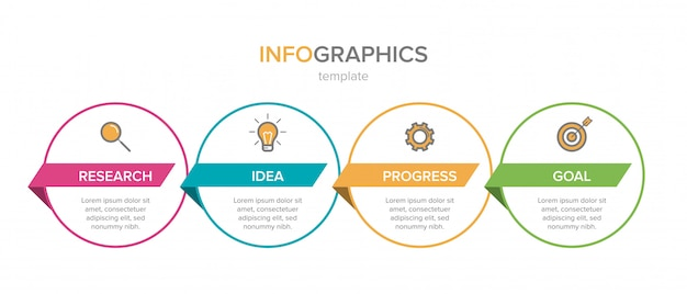Infographic design with icons and four options or steps. thin line vector. infographics business concept. can be used for info graphics, flow charts, presentations, web sites, banners, printed materials.