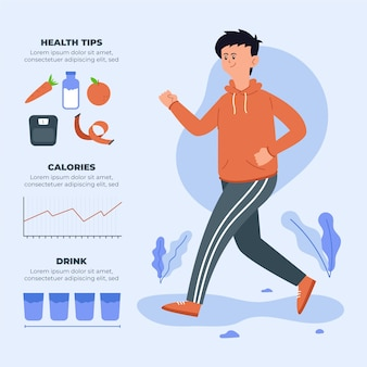 Infographic design with man running
