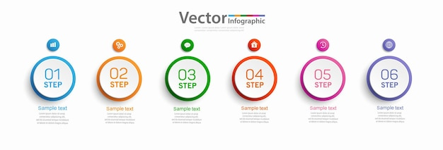 Infographic design with six options or steps