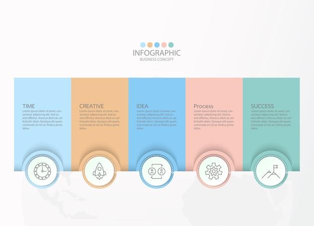 細い線のアイコンとインフォグラフィック、フローチャート、プレゼンテーションのための5つのオプションまたはステップを備えたインフォグラフィックデザイン